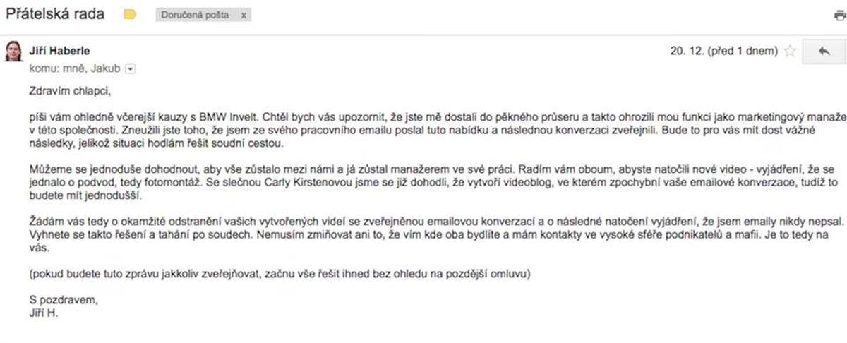 Výhružný e-mail, který údajně obdržel youtuber TvTwixx