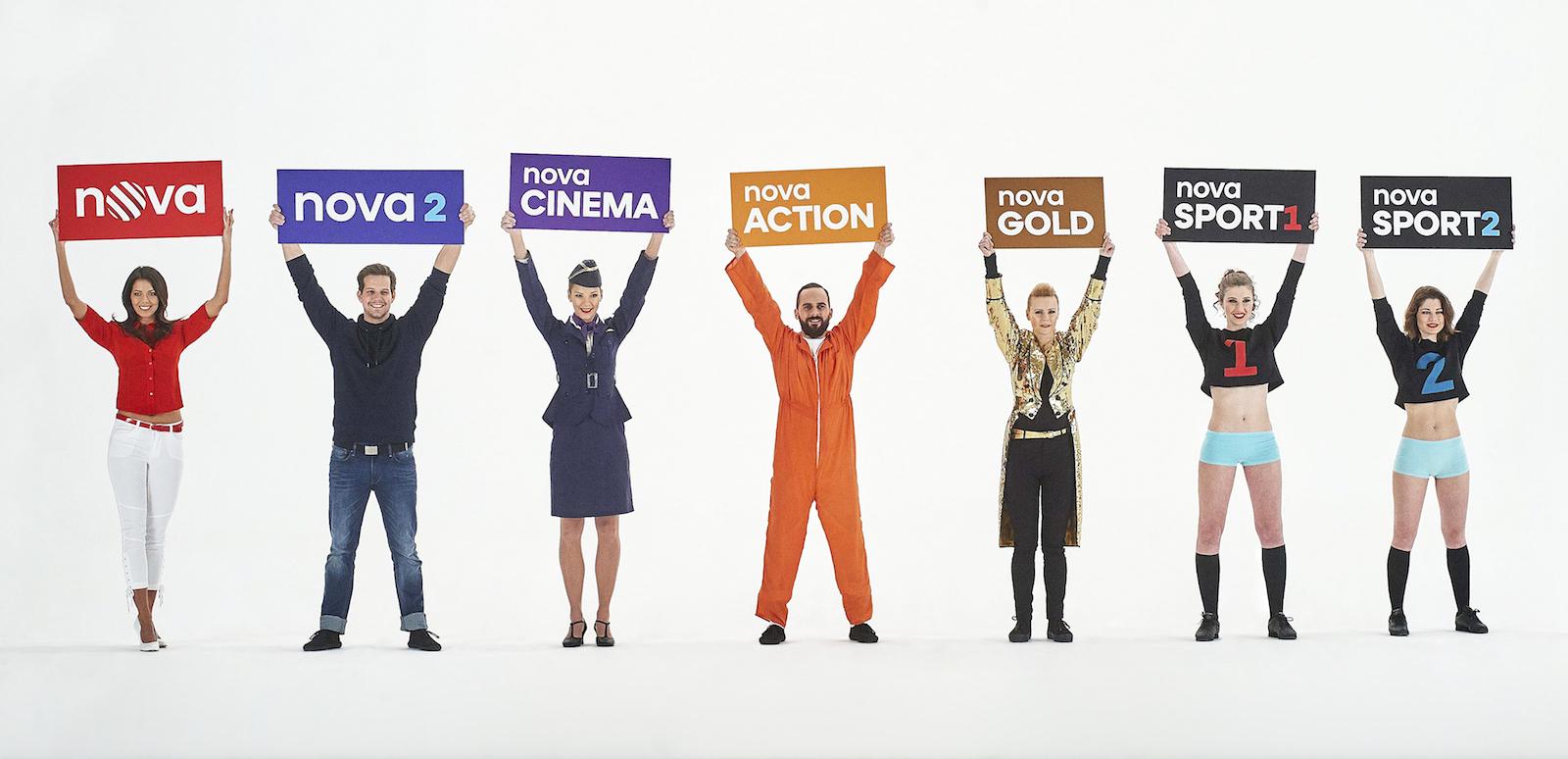 Nová loga stanic televizní skupiny Nova v kampani