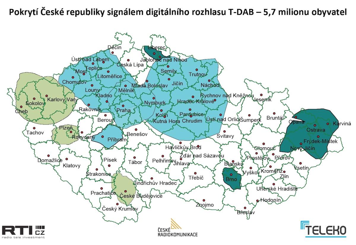 Dosavadní pokrytí Česka digitálním rozhlasovým signálem