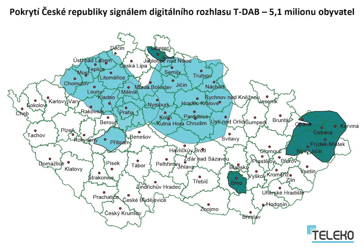 Dosavadní pokrytí Česka digitálním rozhlasovým signálem firmy Teleko