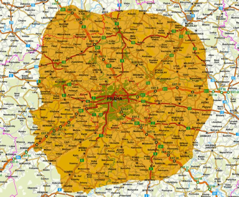 Pokrytí Prahy a okolí signálem digitálního rádia Českých Radiokomunikací