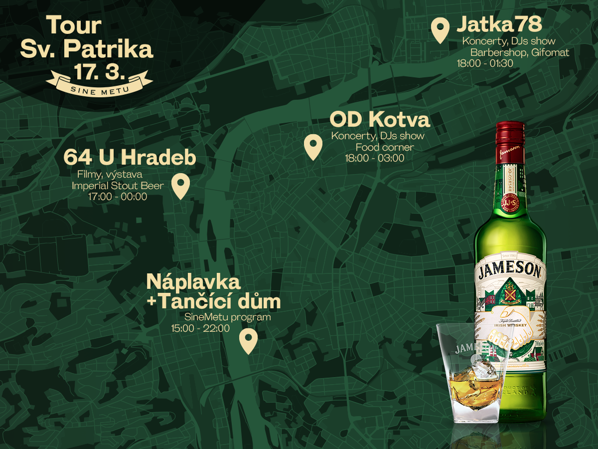 Mapa akce Jameson na svátek svatého Patrika
