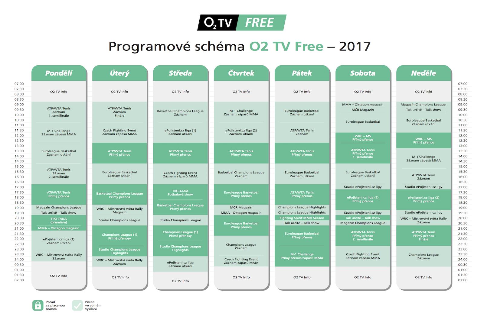 Program O2 TV Free sestává z placených a zdarma přístupných pořadů. Kliknutím zvětšíte