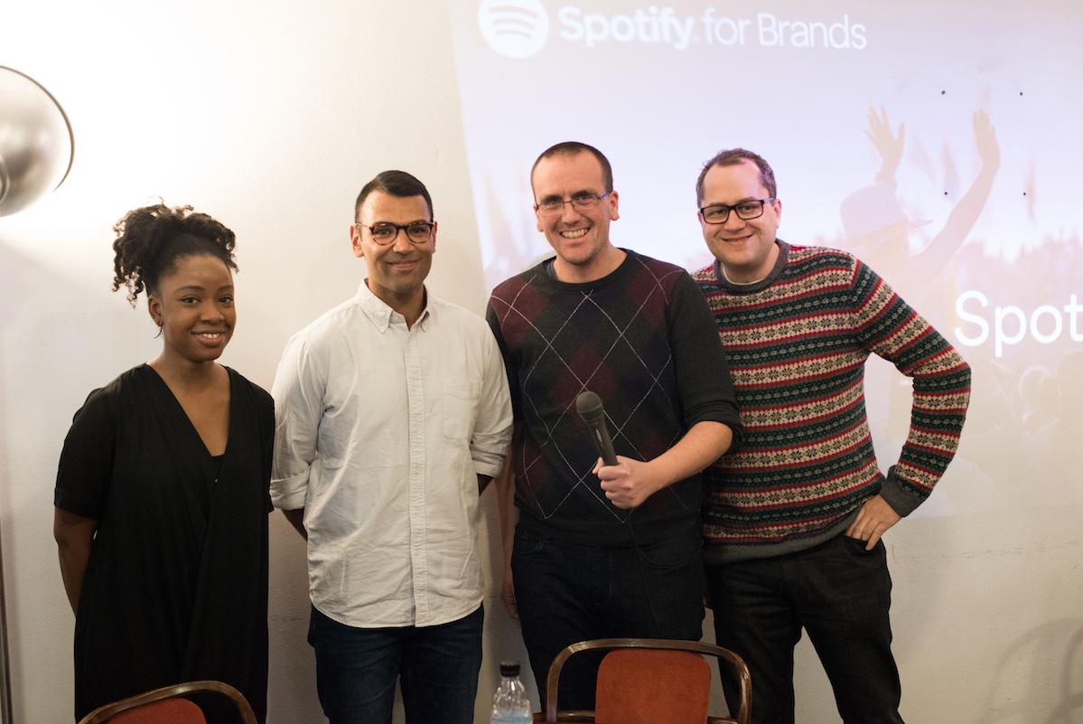 Zástupci Spotify na lednovém setkání v Ponrepu s předsedou digitální sekce AKA Petrem Laštovkou z Comtechu a Radkem Vašíčkem z Httpool. Foto: David Bruner