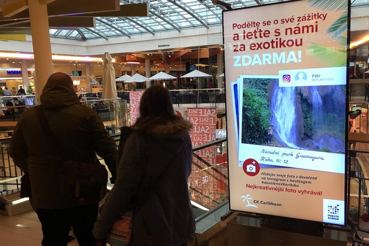 Ukázka lednového použití user generated contentu v pražském nákupním  Palladium