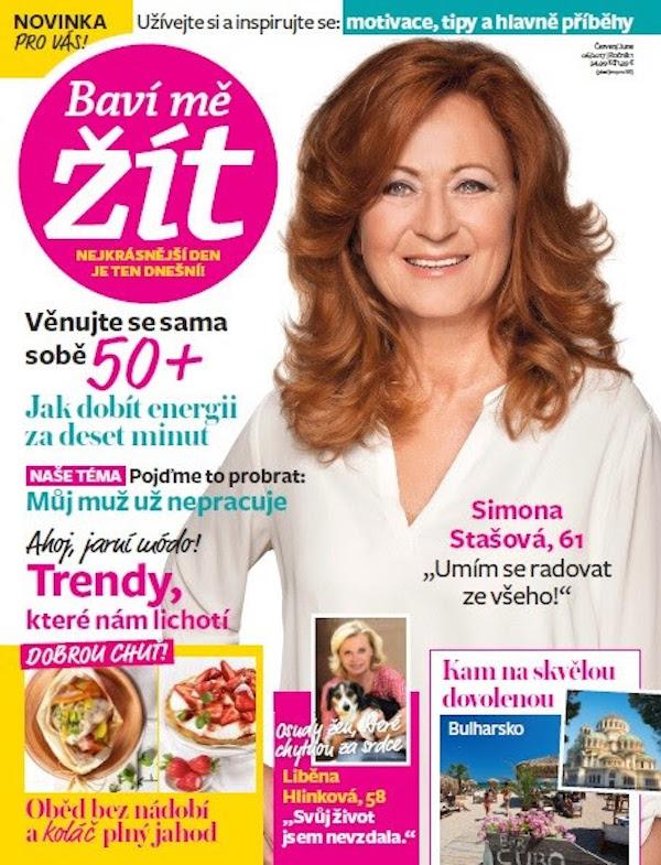 Na titulní straně prvního vydání Baví mě žít je Simona Stašová