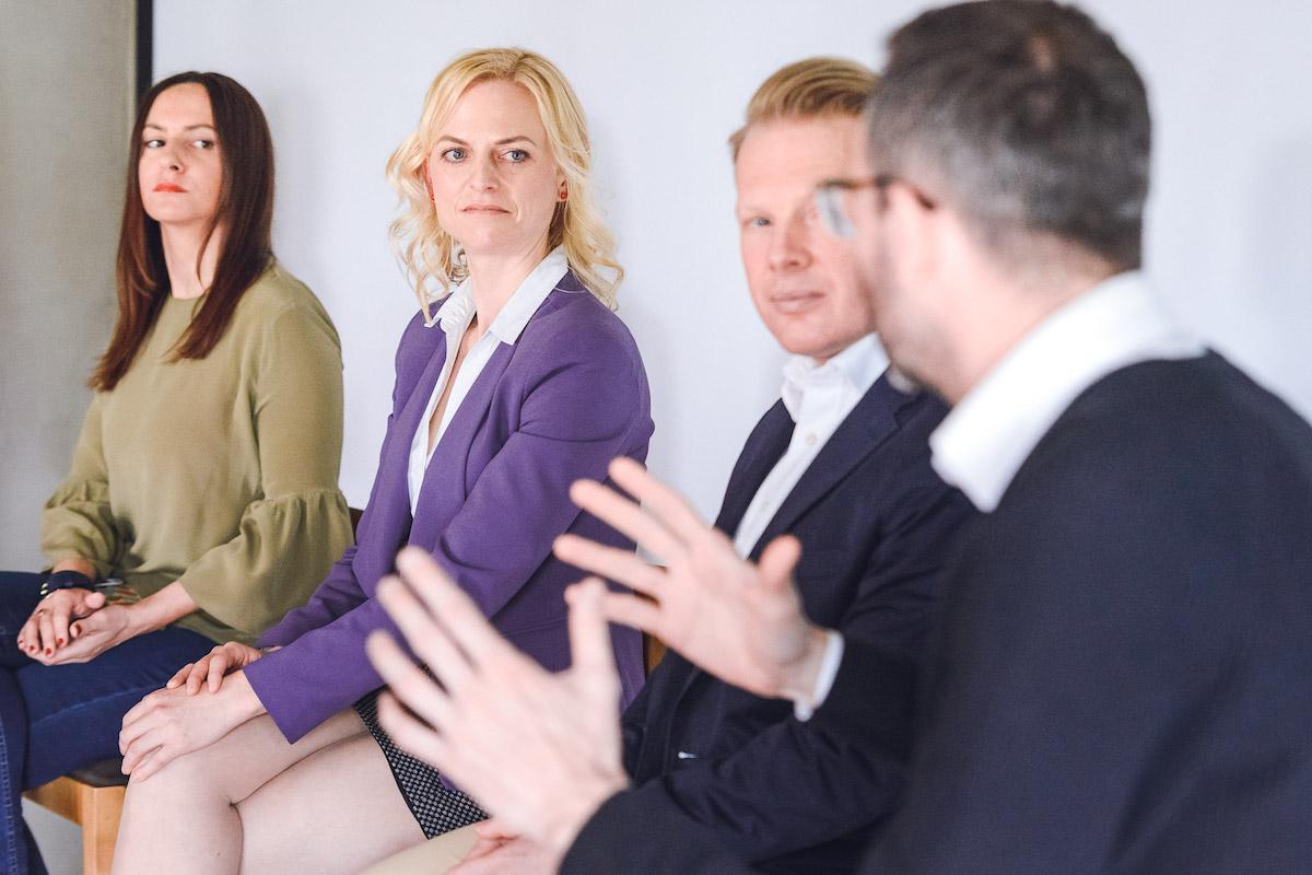 Zleva Kateřina Pištorová (Siemens), Andrea Brožová (Nestlé), Patrik Schober (Pram Consulting), Ondřej Aust (Médiář). Foto: Jakub Hrab