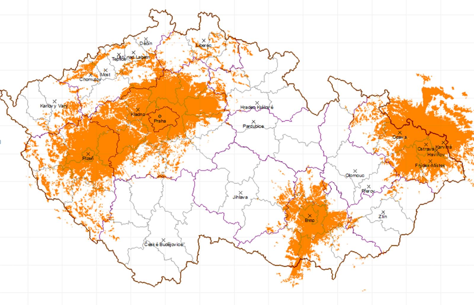 Předpokládaný dosah řádného digitálního vysílání Českého rozhlasu v listopadu 2017