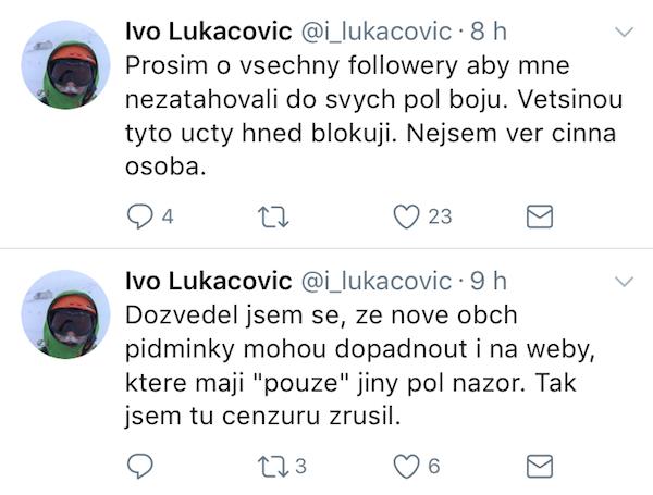 Vyjádření Ivo Lukačoviče na Twitteru. Už nejsou volně dostupná