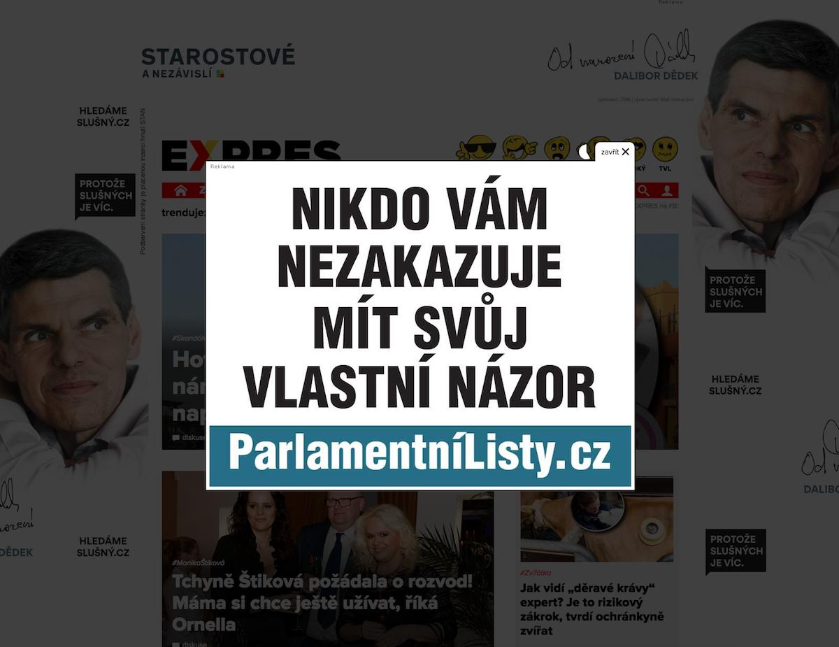 Inzerce Parlamentních listů na webu Expres.cz vydavatelství Mafra