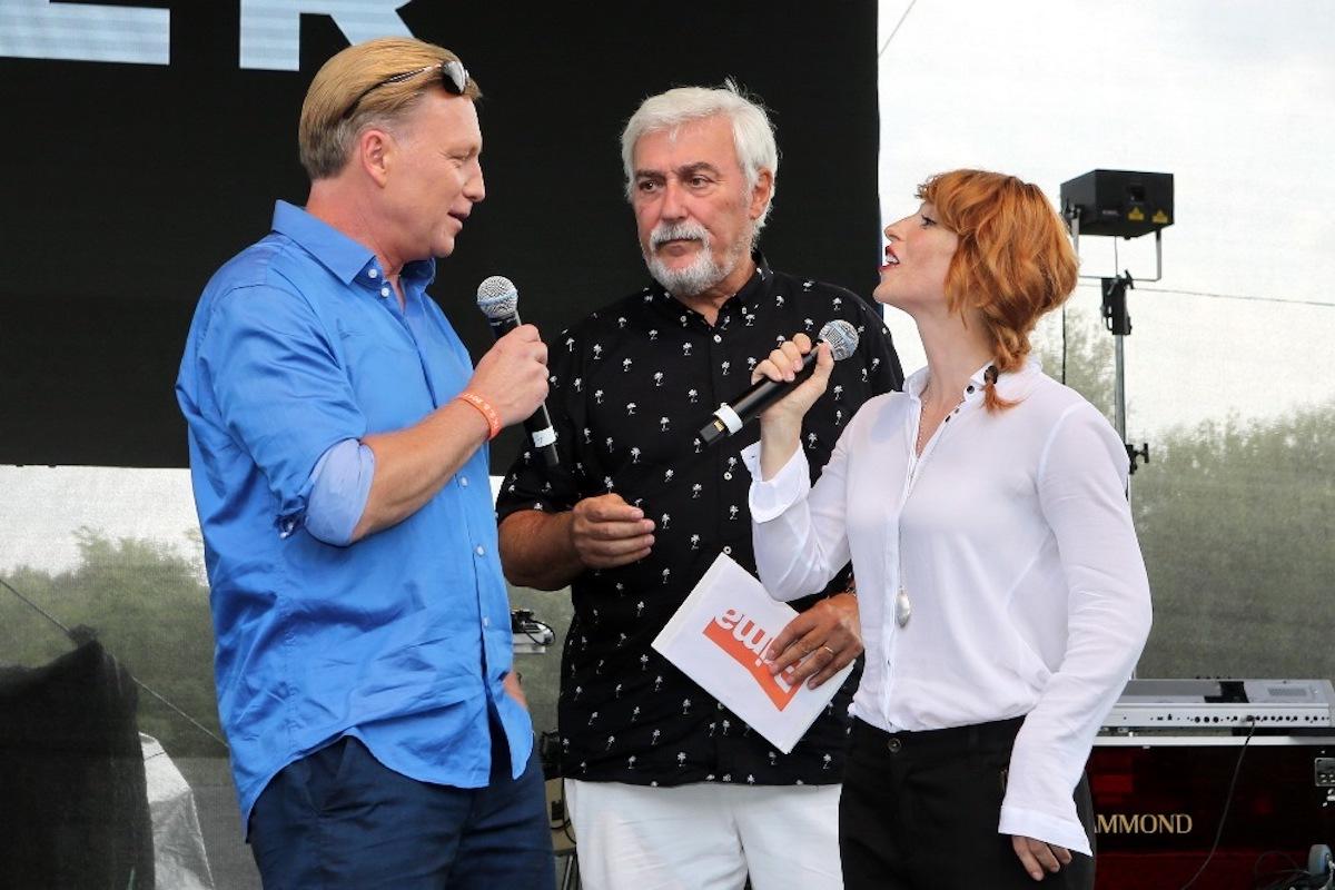 Michal Dlouhý, Jan Rosák a Vica Kerekes na tiskové konferenci Primy v pražské zoo. Foto: TV Prima