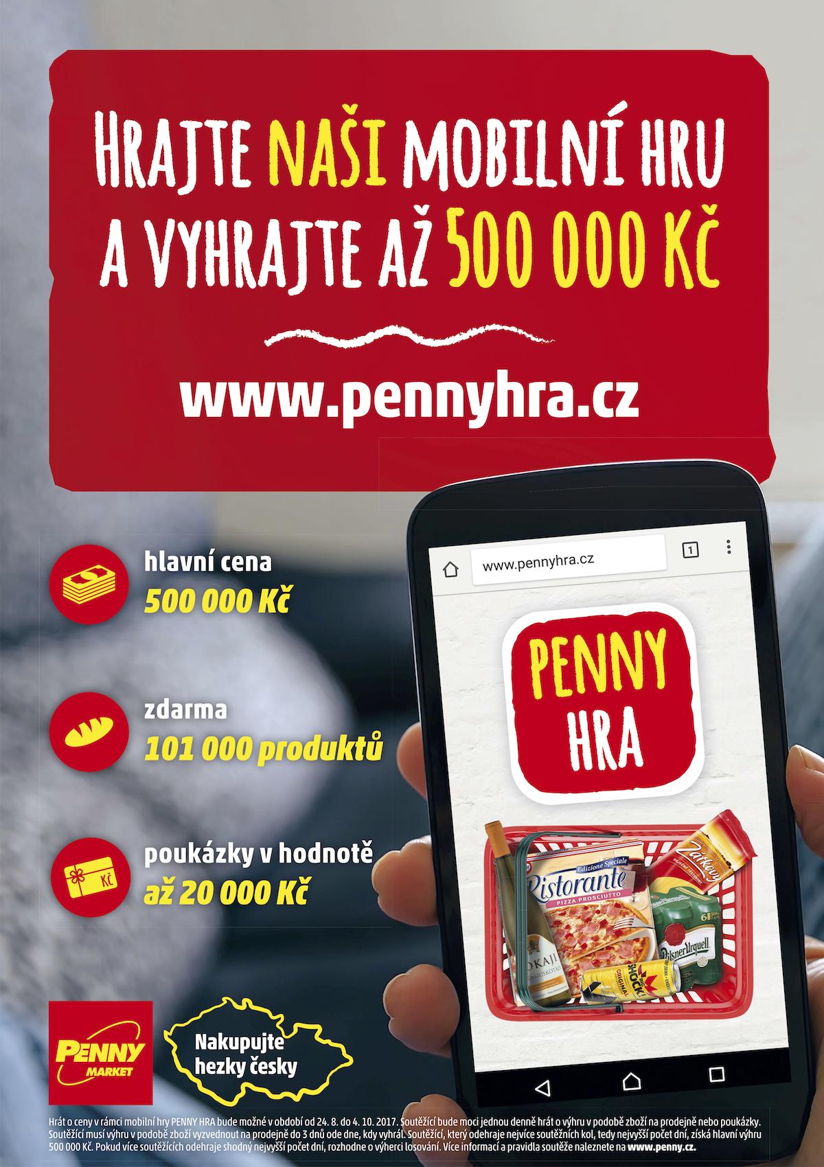 Propagační leták k mobilní hře Penny Marketu