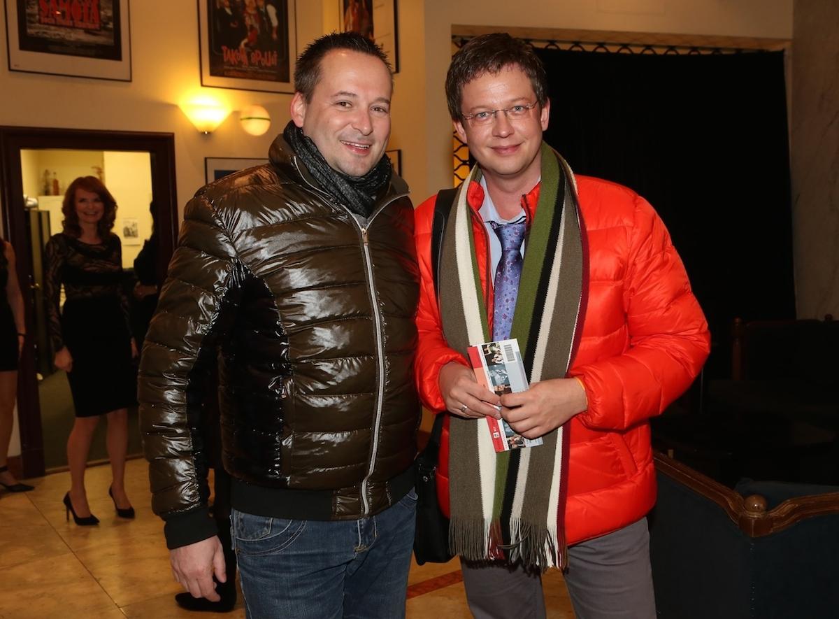 Michal Jagelka a Aleš Cibulka na premiéře Jistě, pane ministře! v divadle na Vinohradech v lednu 2014. Foto: Profimedia.cz