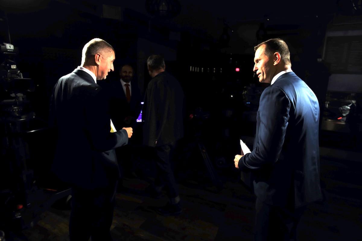 Andrej Babiš a Jaromír Soukup. Foto: TV Barrandov