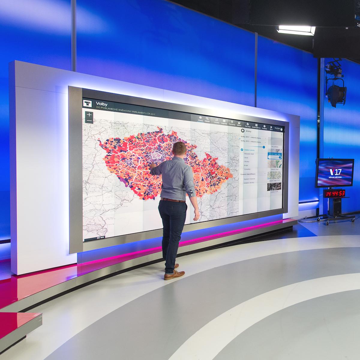 Mapa s výsledky všech okrsků. Foto: TV Nova