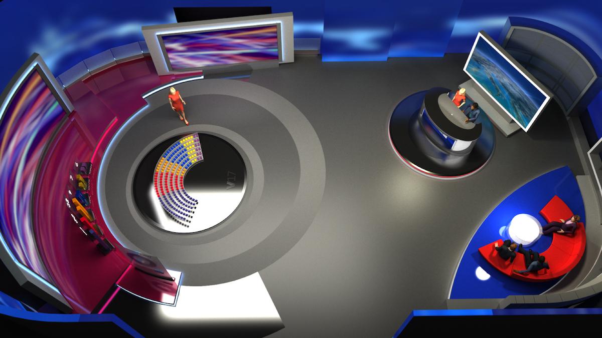 Vizualizace volebního studia. Foto: TV Nova