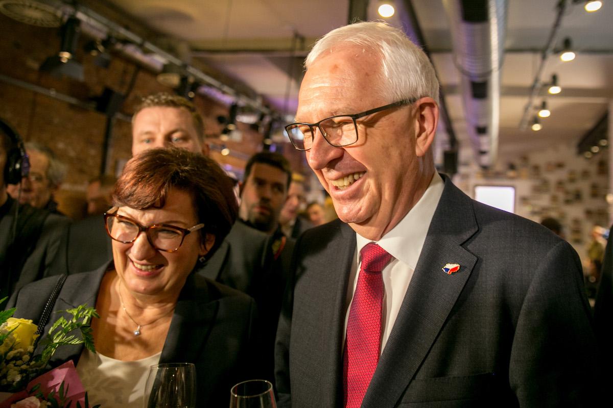 Jiří Drahoš s novináři