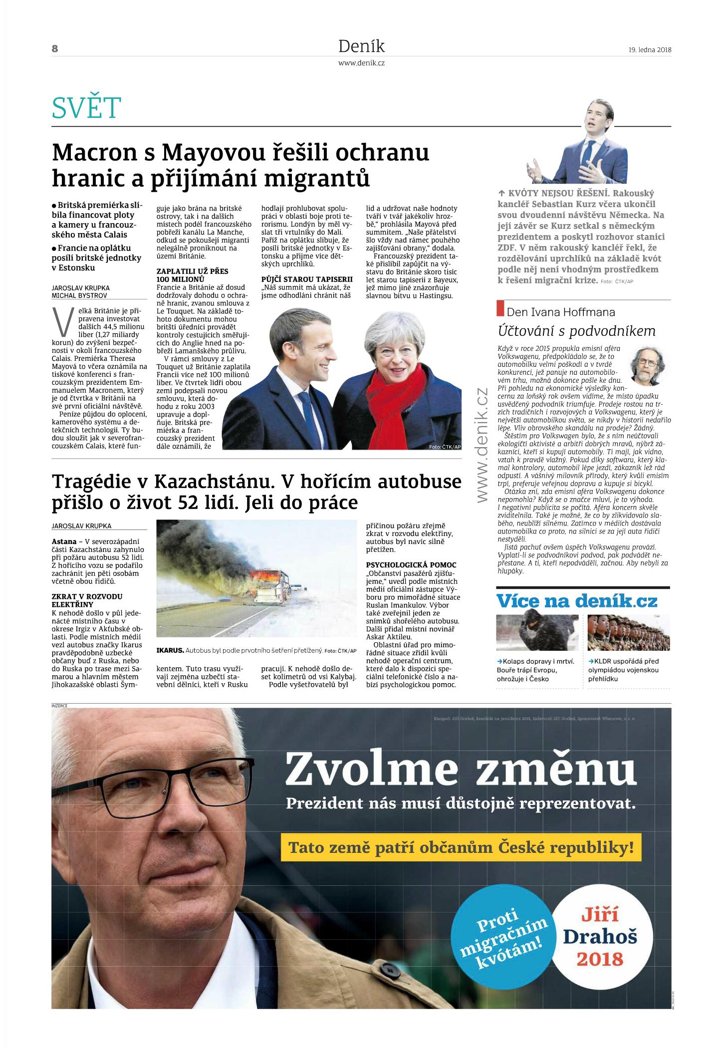 Tým Jiřího Drahoše reagoval v Deníku v pátek 19. ledna