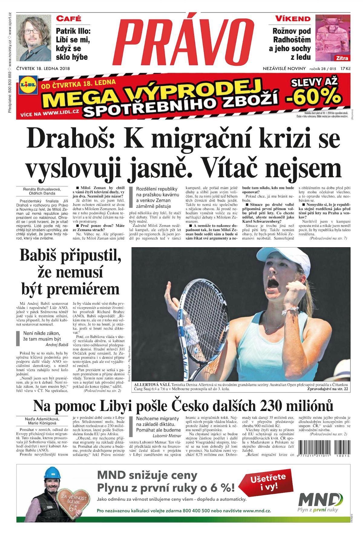 Vydání Práva z 18. ledna otvírá rozhovorem s Jiřím Drahošem