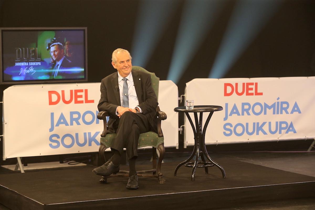 Miloš Zeman ve speciálním Duelu Jaromíra Soukupa. Foto: TV Barrandov