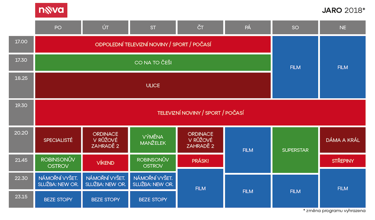 Programové schéma Novy pro jaro 2018