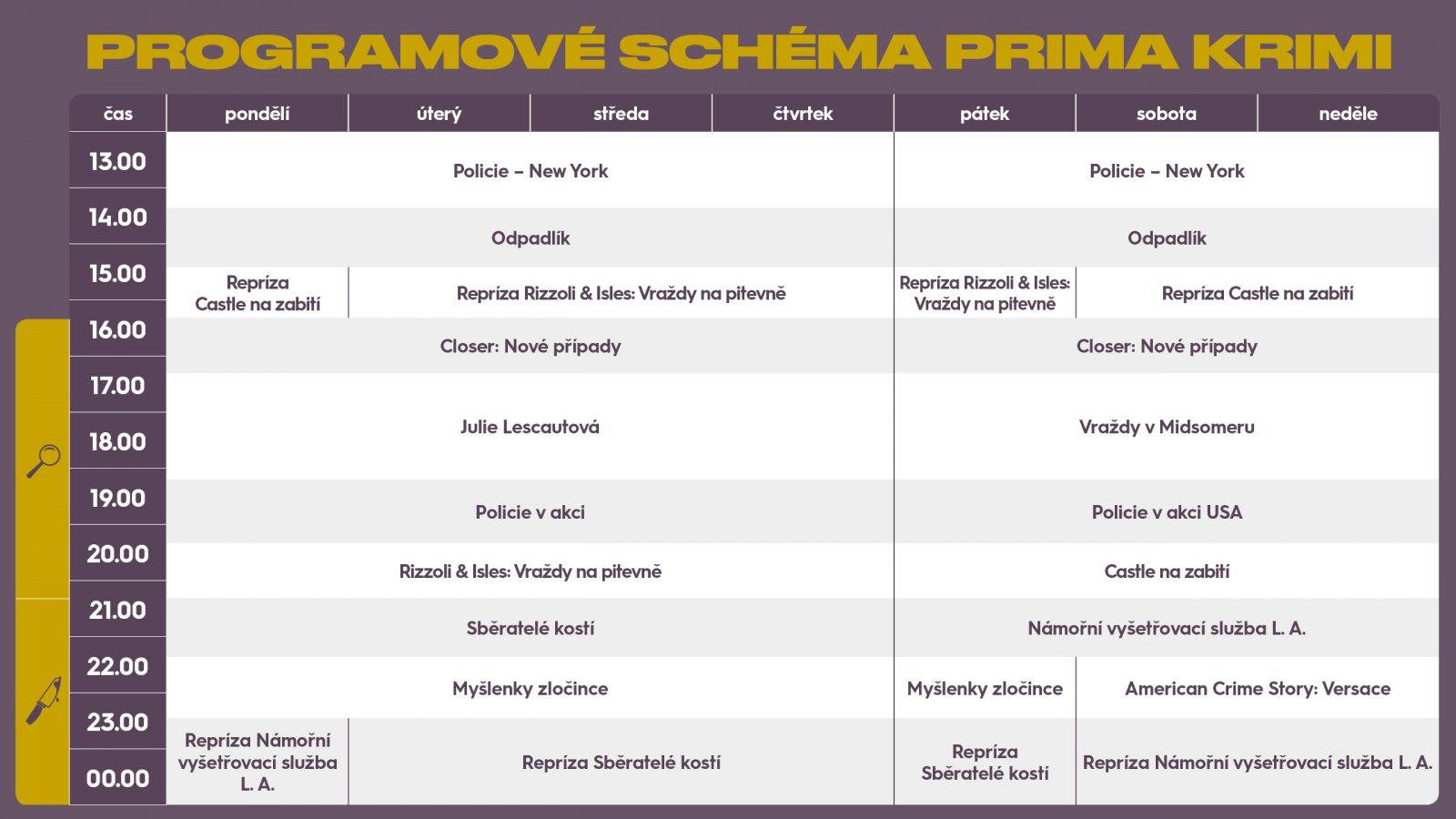 Programové schéma kanálu Prima Krimi