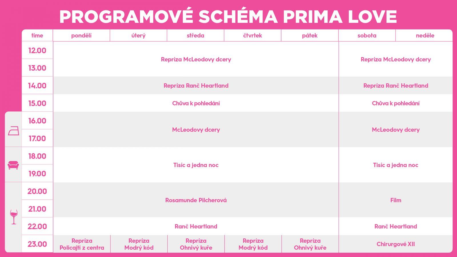 Nové programové schéma kanálu Prima Love