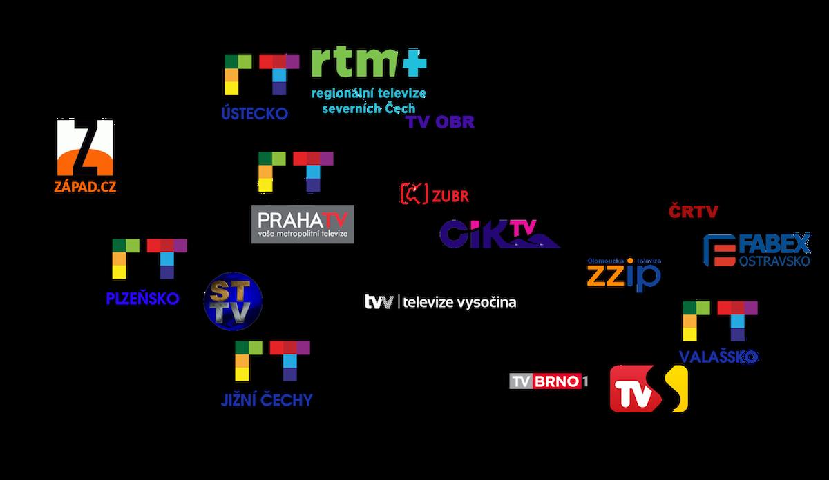 Pokrytí krajů jednotlivými studii Regionálnítelevize.cz