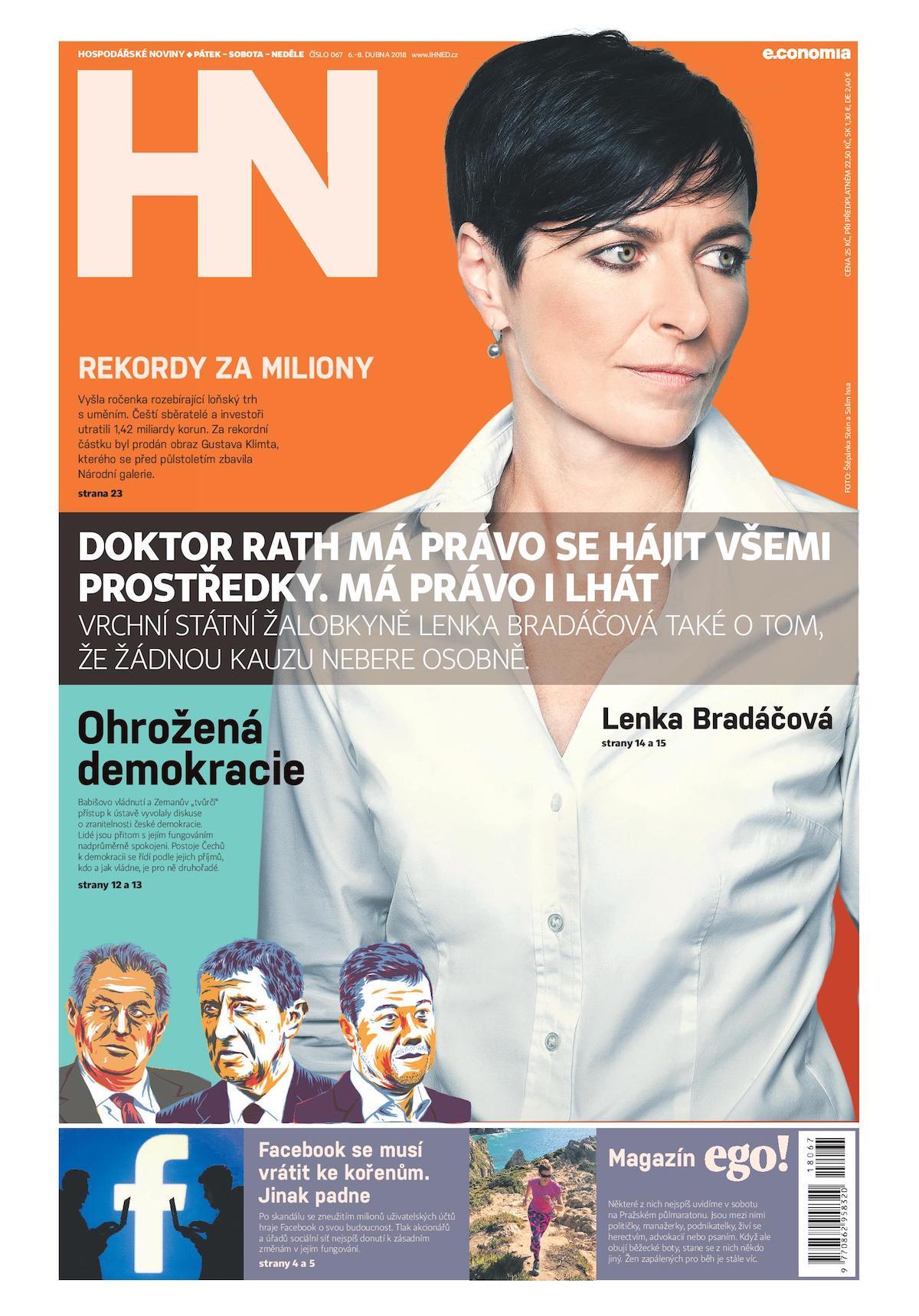 Inovovaná titulní strana pátečních Hospodářských novin