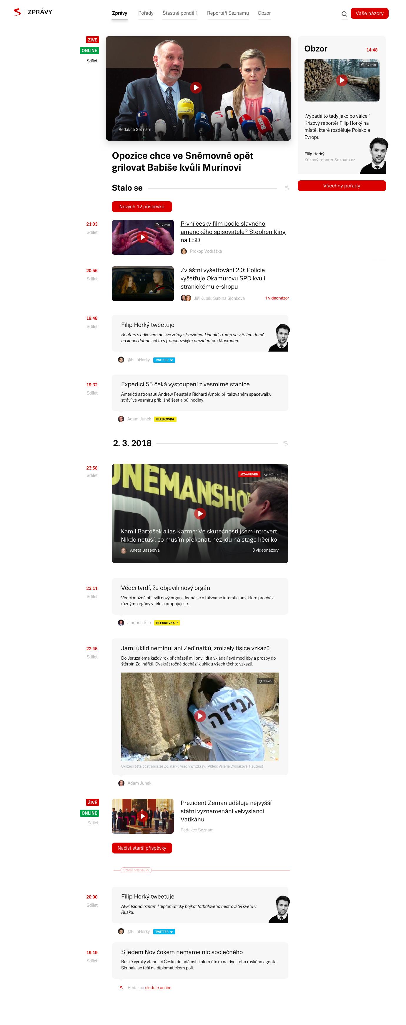 Nová podoba homepage Seznam Zpráv