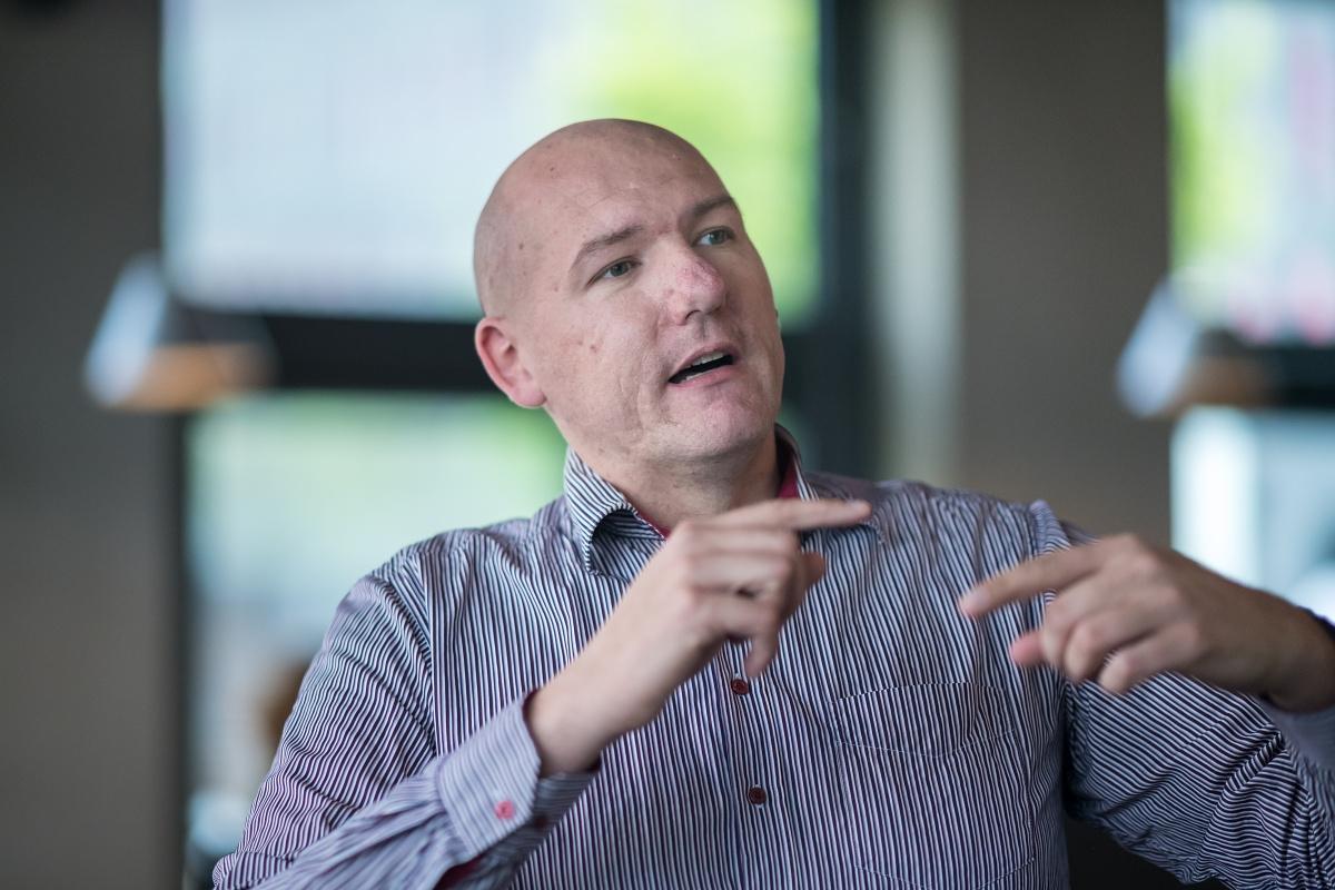 Pavel Vlček na dubnovém PR Brunchi agentury Pram Consulting a Médiáře. Foto: Vojta Herout