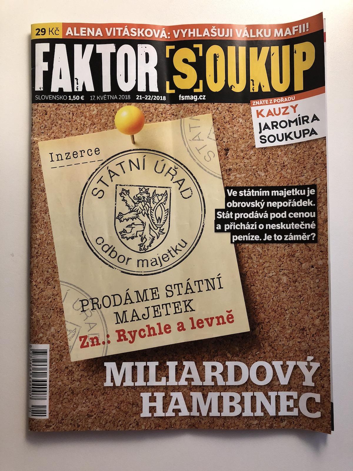Aktuální vydání týdeníku Faktor Soukup