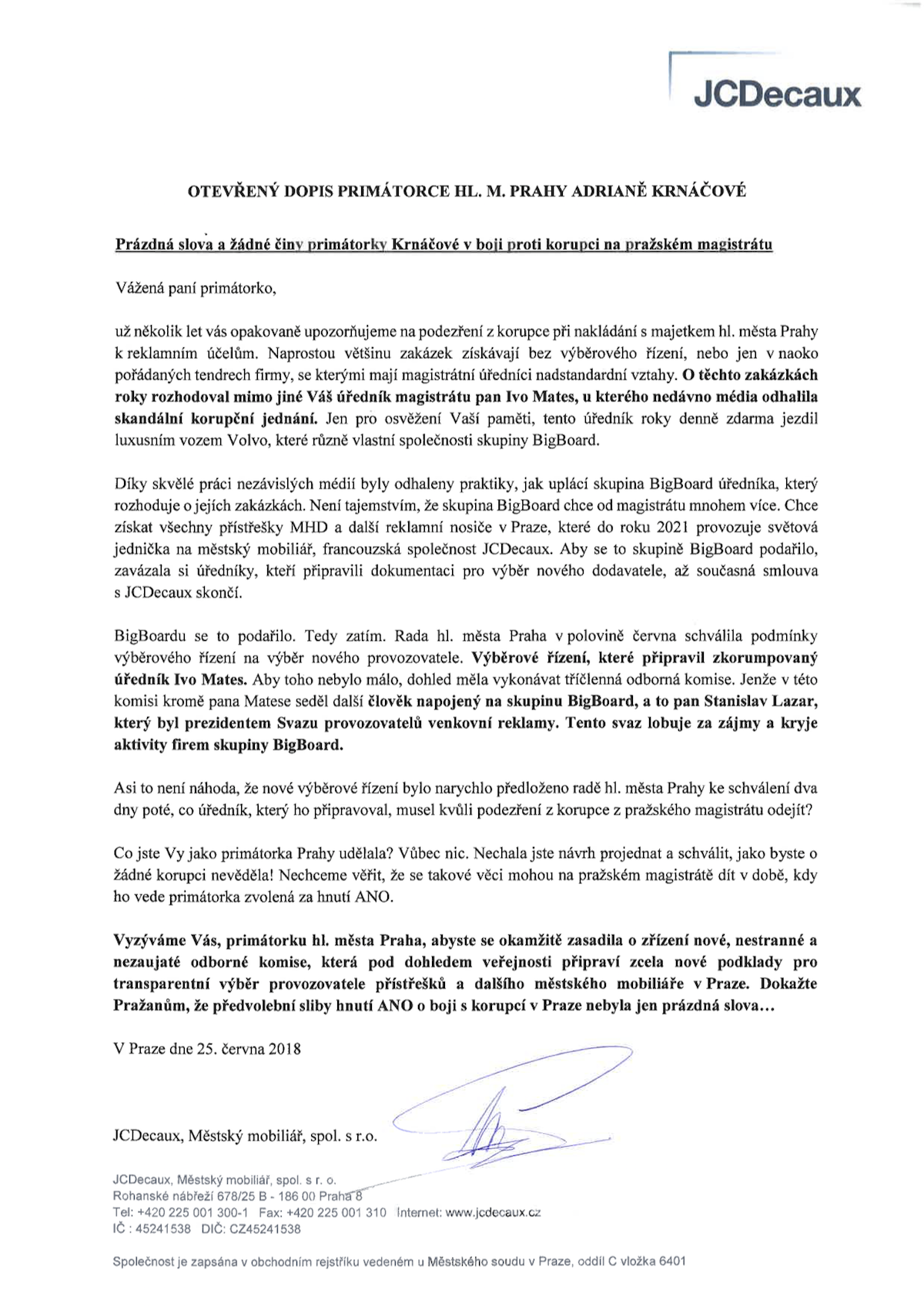 Otevřený dopis JCDecaux primátorce Prahy Krnáčové