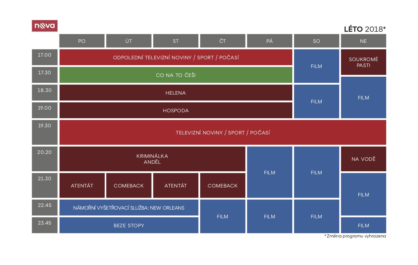 Programové schéma televize Nova na léto 2018