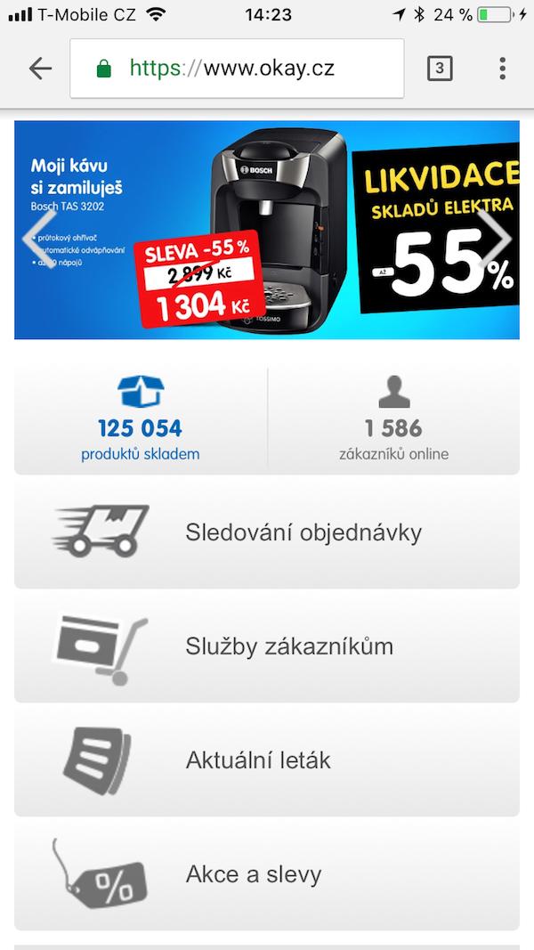 Příklad mobilního webu
