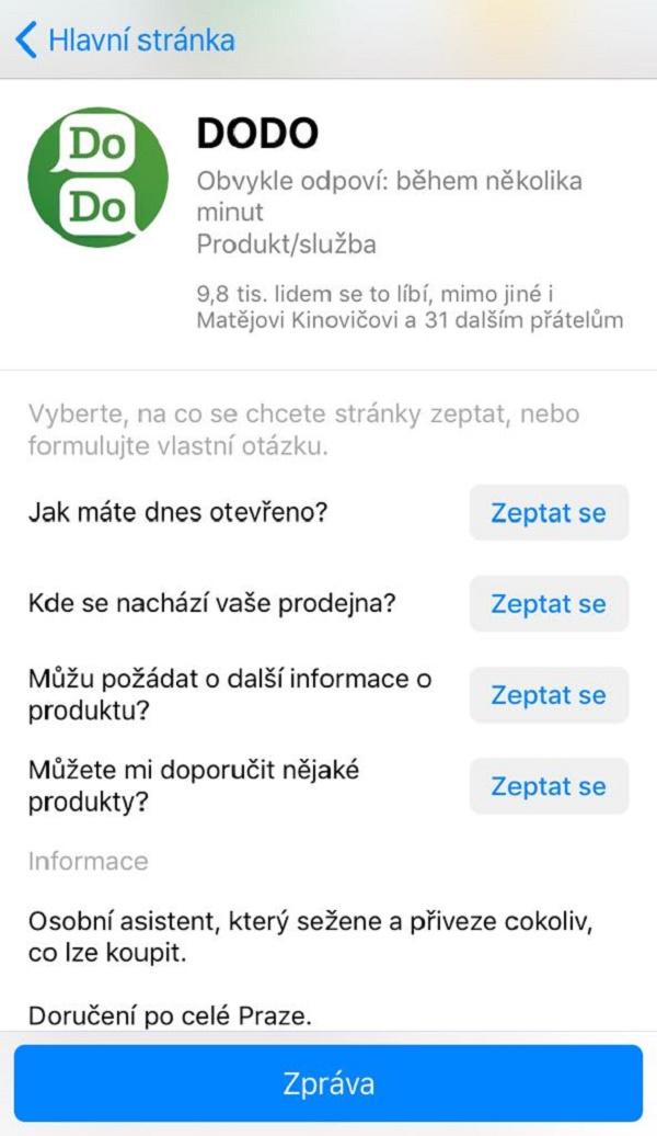Pohledávky vyřizuje Dodo pomocí chatbota či osobně v Messengeru