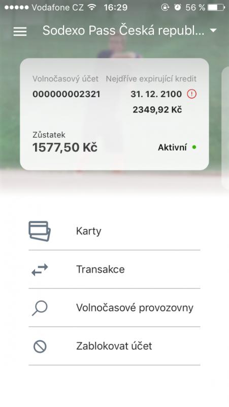 Nová aplikace Sodexa umožňující platby