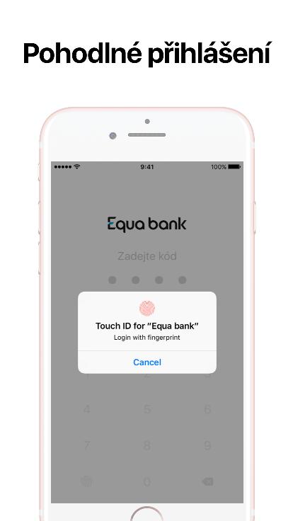 Mobilní bankovnictví Equa bank využívá autorizace otiskem prstu