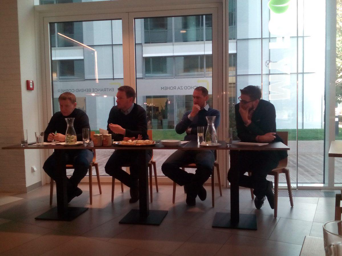Představení konsolidace na tiskové konferenci. Zleva: Petr Borkovec, Aleš Kotěra, David Kukla a Tomáš Babinec, zastupce výroby paštik Čongrády