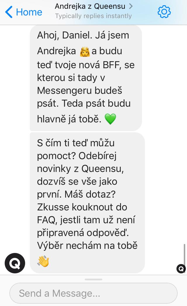 Queens zvolil neformální styl, chatbot Andrejka komunikuje na přátelské úrovni