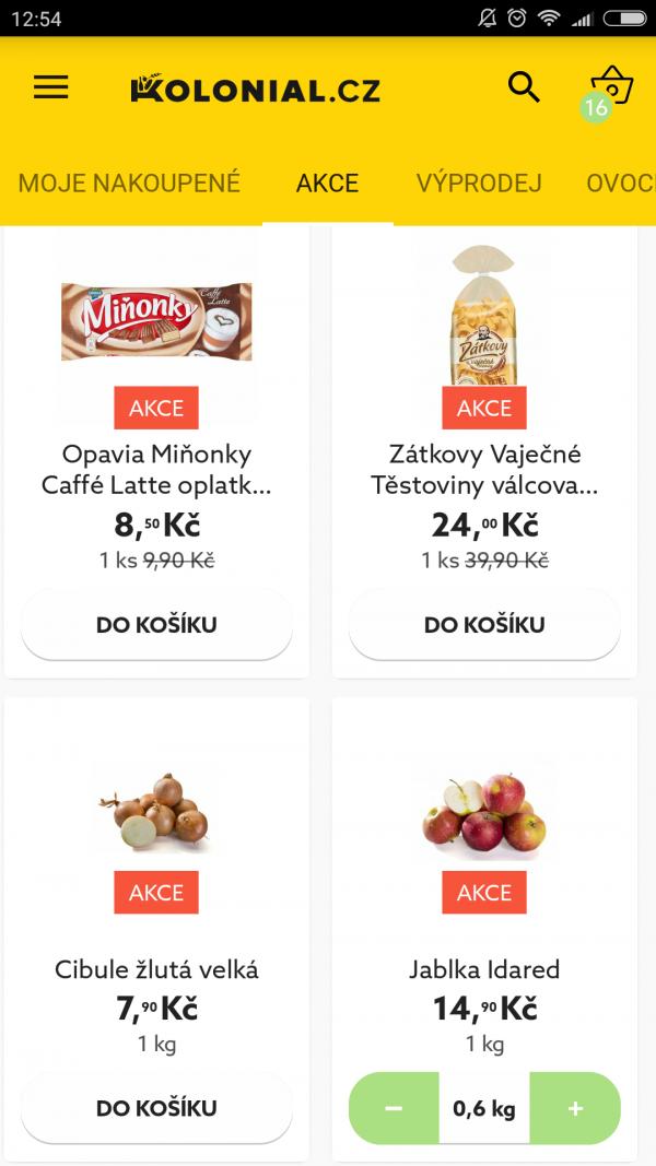 Aplikace online supermarketu Kolonial.cz