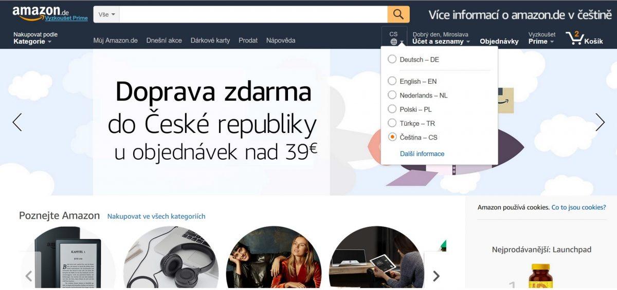 Amazon nabízí dopravu nad 1.000 Kč do Česka zdarma