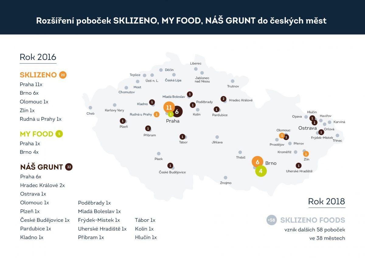 Mapa stávajících a budoucích poboček sítě Sklizeno Foods