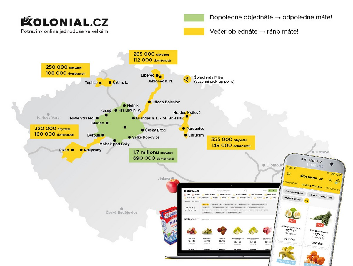 Mapa závozových oblastí Kolonial.cz