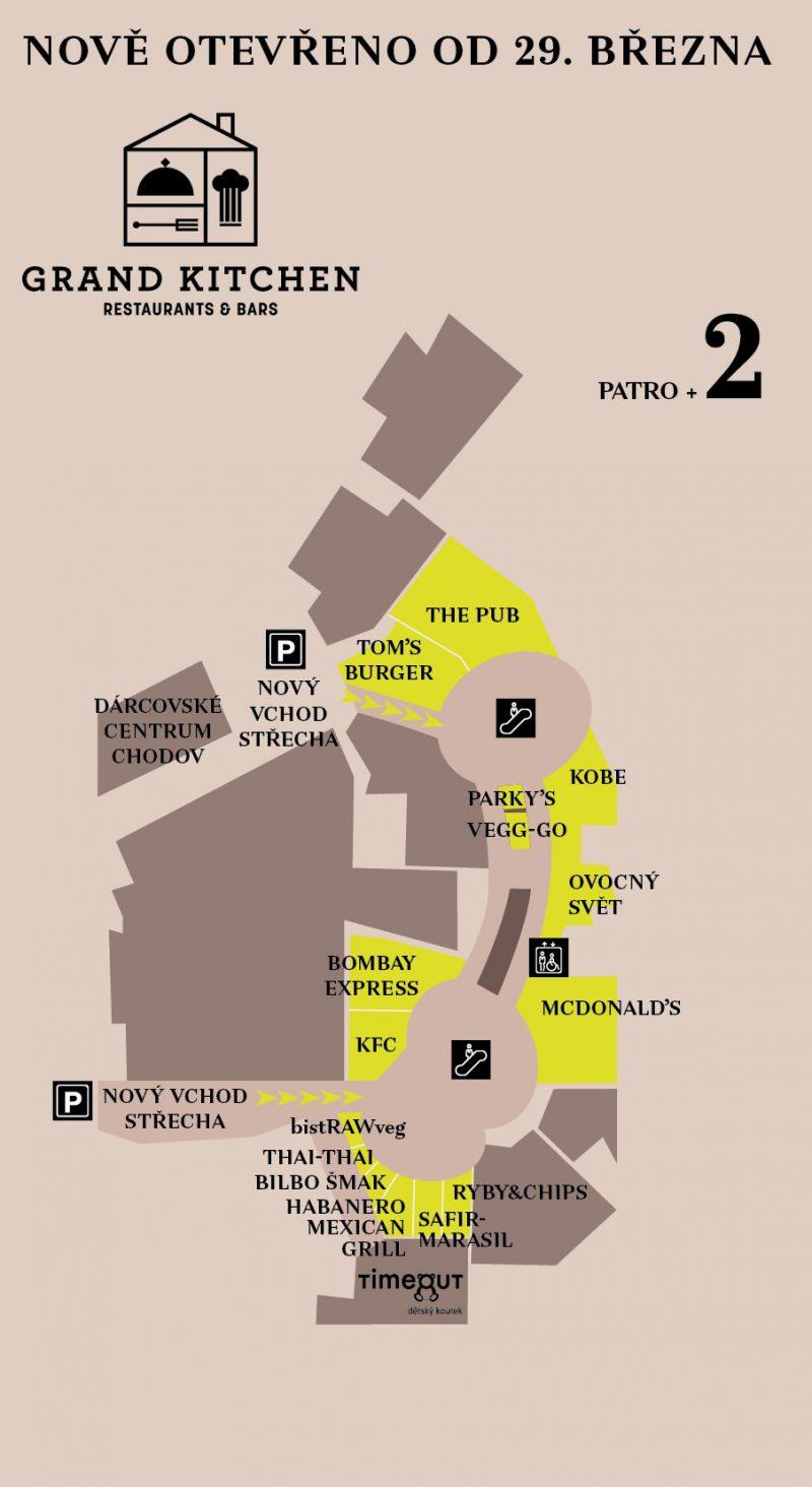 Struktura obsazení nového food courtu Chodova