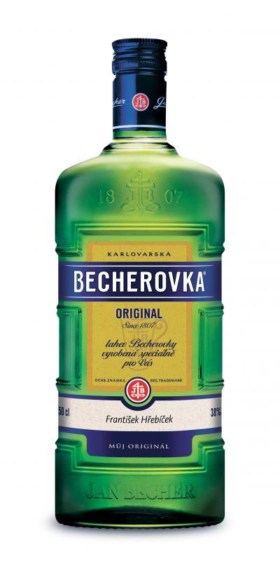 Personalizovaná láhev Becherovky s věnováním na dolní části etikety