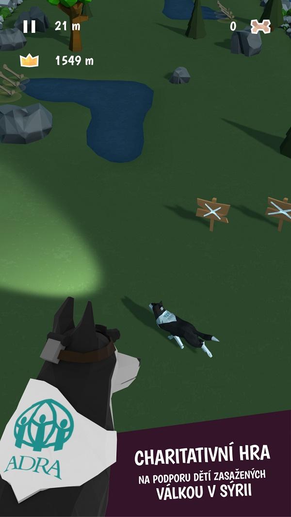 Hrdinou hry je husky, který zachraňuje ztracená štěňata
