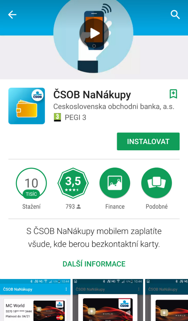 Profil aplikace na Google Play
