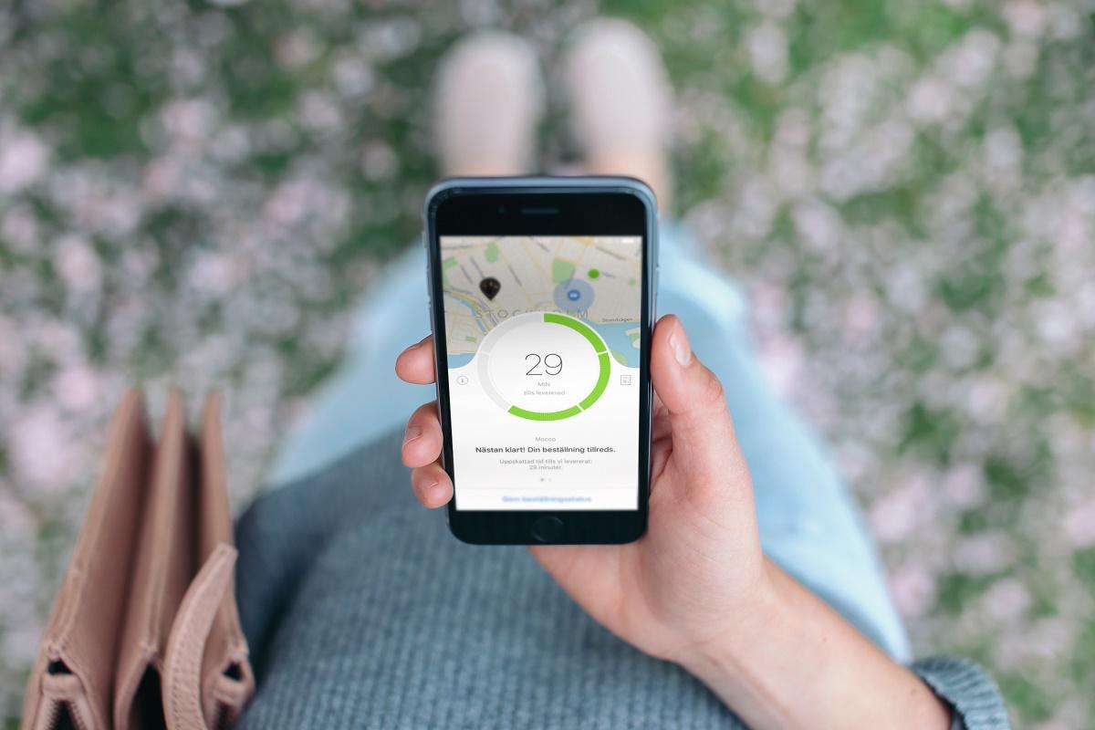 Aplikace graficky znázorňuje čas, který zbývá do předání objednávky