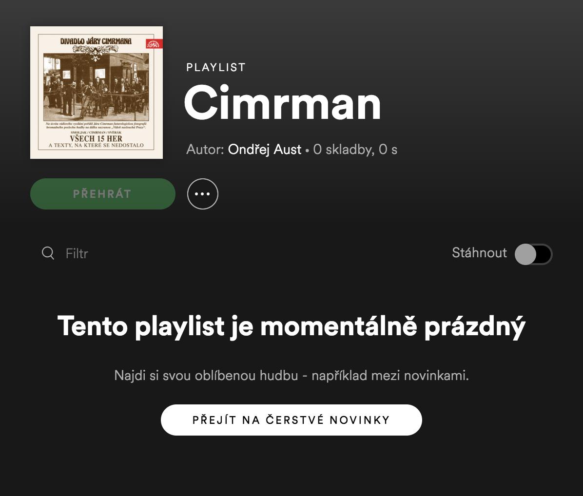 Playlisty z Cimrmanovými hrami zůstaly prázdné
